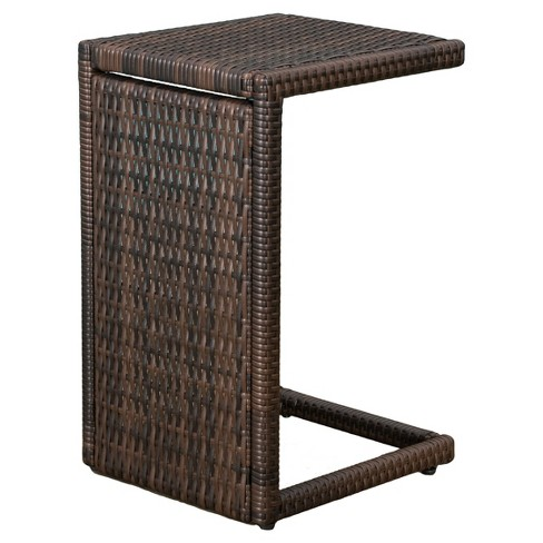 Forrest C-shaped Wicker Accent Table - Brown - Christopher Knight Home - image 1 of 4