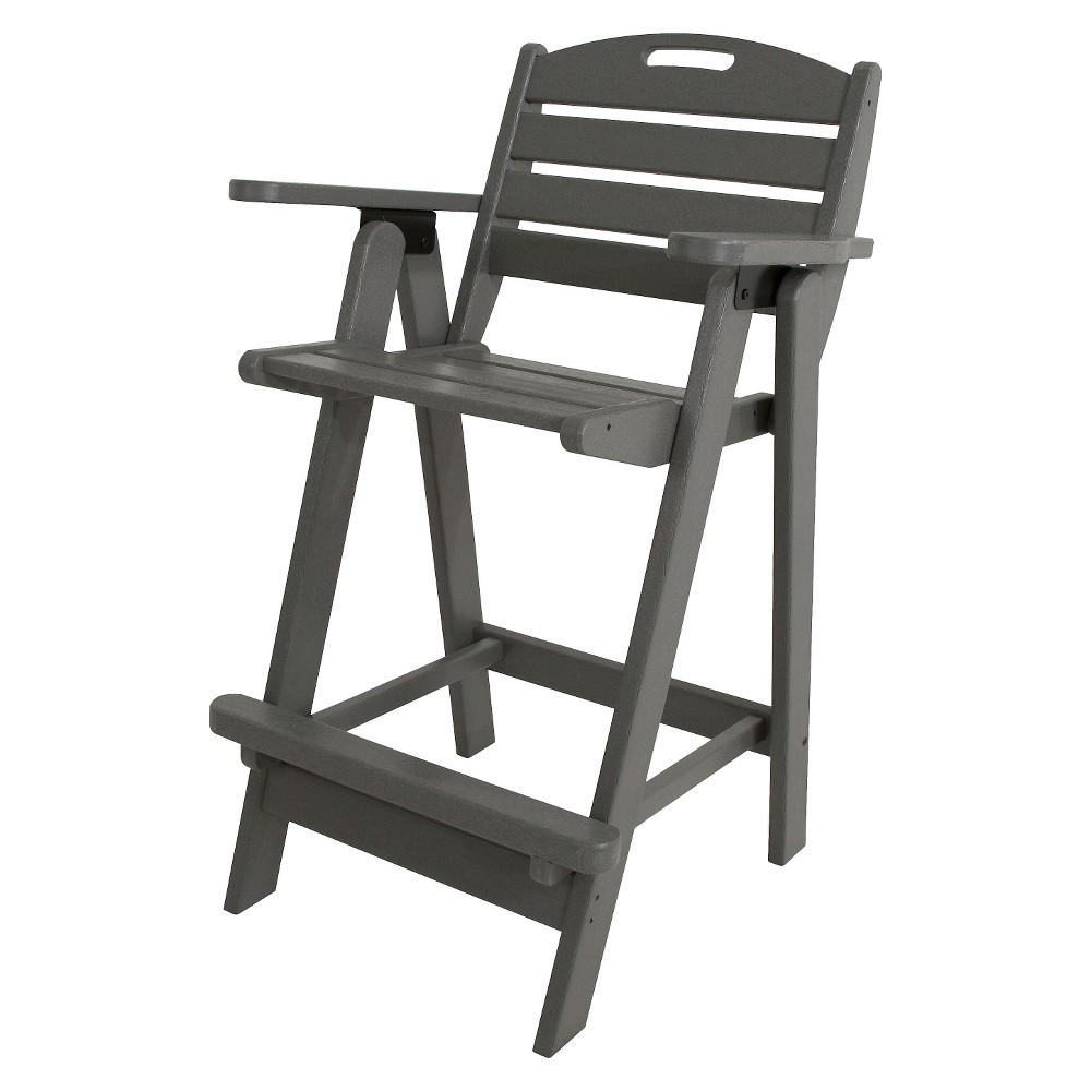 Polywood Nautical Bar Height Patio Arm Dining Chair - Gray