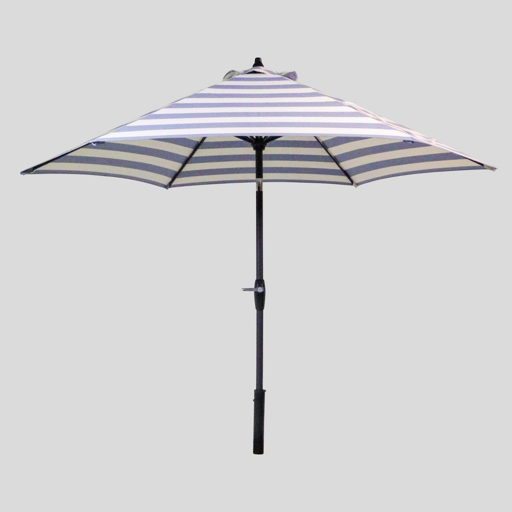9' Round Cabana Stripe Patio Umbrella Navy (Blue) - Light Wood Pole - Threshold