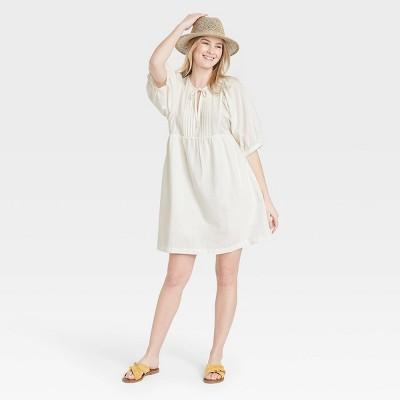 Women's Puff Elbow Sleeve Babydoll Dress - Universal Thread™