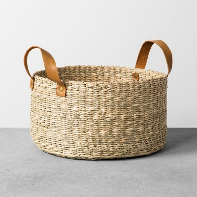 Seagrass Basket with Leather Handle - Medium - Hearth & Hand™ with Magnolia