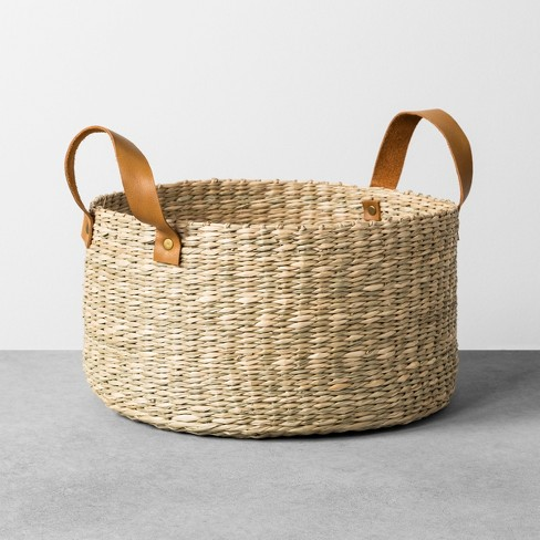 Seagrass Basket with Leather Handle - Medium - Hearth & Hand™ with Magnolia - image 1 of 4