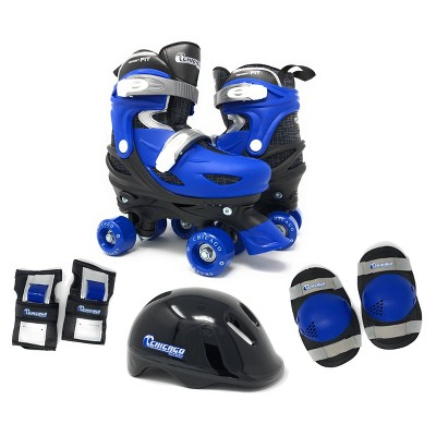 Chicago Skates Deluxe Kids' Quad Roller Skate Combo Set - Black/Blue