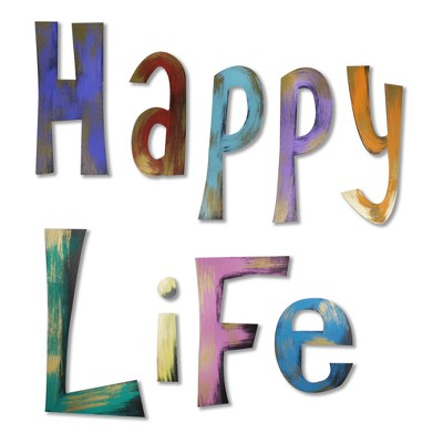 """42""""x13"""" Hand Painted 3D Wall Sculpture Happy Life Bronze- Letter2Word"""