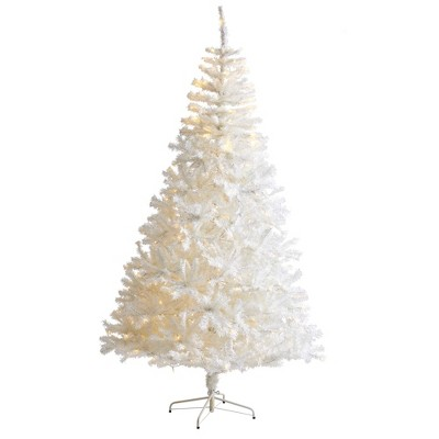 7ft Nearly Natural Pre-Lit LED White Artificial Christmas Tree Clear Lights