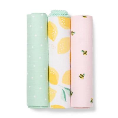 Muslin Swaddle Blanket Honeybee 3pk - Cloud Island™ Pink/Yellow