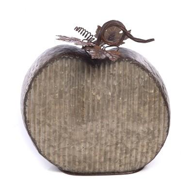 Transpac Metal 12 in. Silver Harvest Galvanized Textured Pumpkin Decor