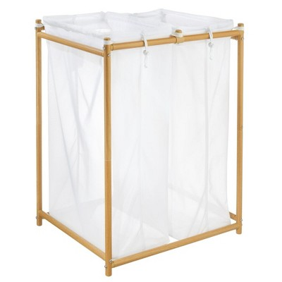 mDesign Laundry Double Hamper Organizer/Sorter 2 Removable Bags