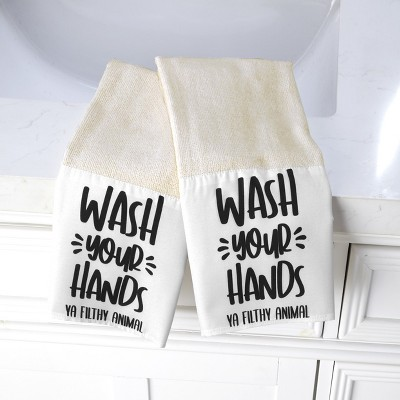 Lakeside Wash Your Hands Kitchen or Bathroom Novelty Hand Towels - Set of 2