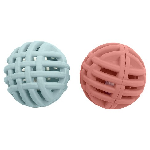 Rubber Lattice Balls with Bell Cat Toy Red 2 pk - Boots & Barkley™ - image 1 of 1
