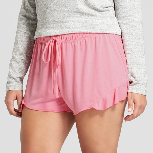 Love and Cherish Women's Plus Size Ruffle Side Pajama Shorts - Pink Bloom - image 1 of 2
