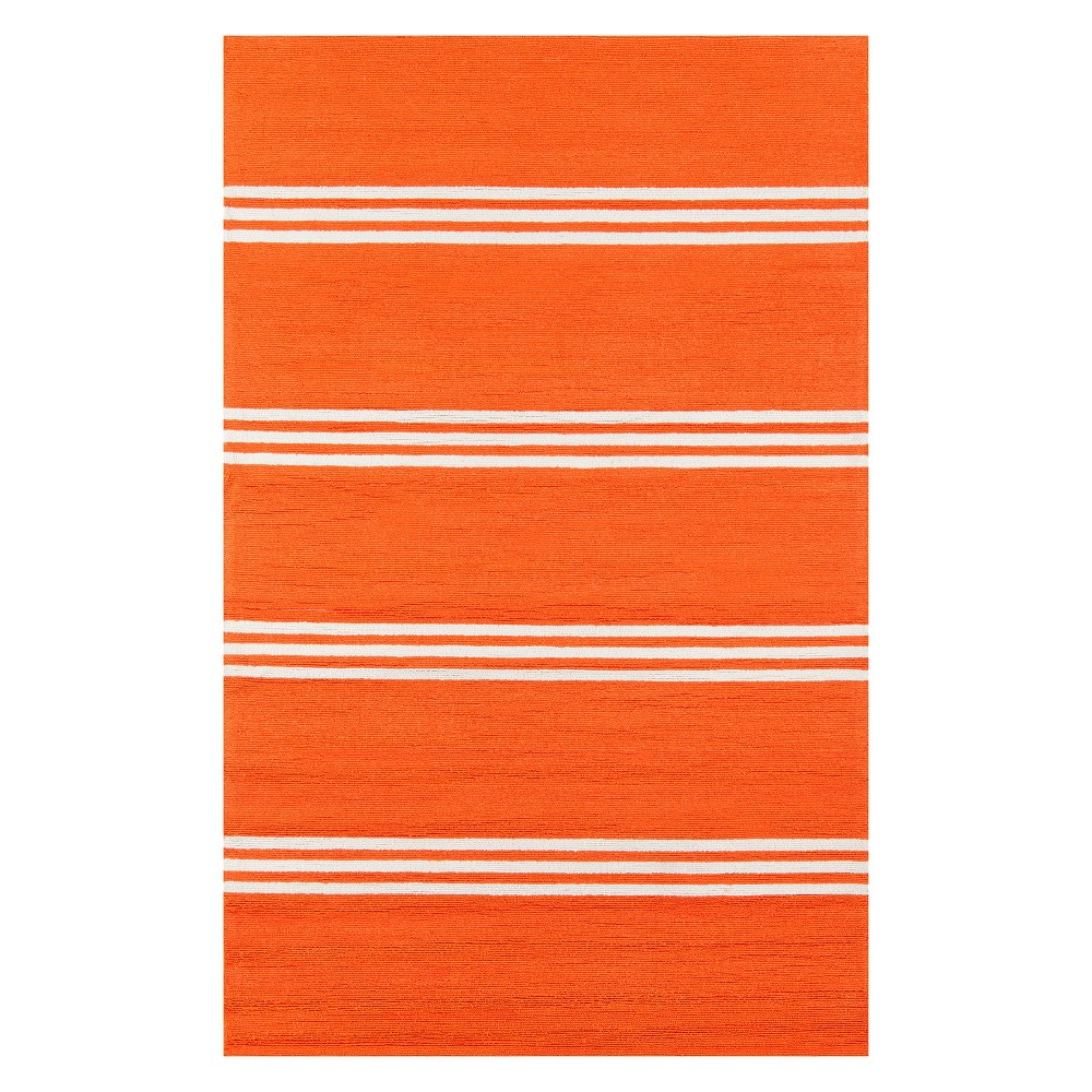 5'X8' Stripe Hooked Area Rug Tangerine (Orange) - Momeni