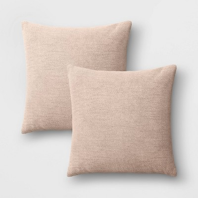 """2pk 18""""x18"""" Solid Chenille Square Throw Pillows Neutral"""