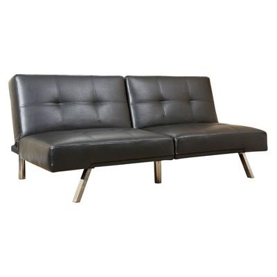 Ordinaire Mackenzie Bonded Leather Convertible Sofa Black   Abbyson Living