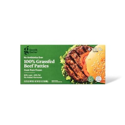 80/20 Grassfed Burger Patties - Frozen - 2lbs/6ct - Good & Gather™