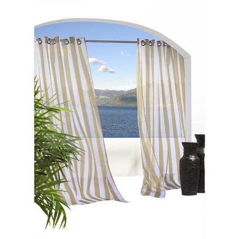 Outdoor Decor Escaped Striped Voile Grommet Top Window Panel Khaki - image 1 of 1