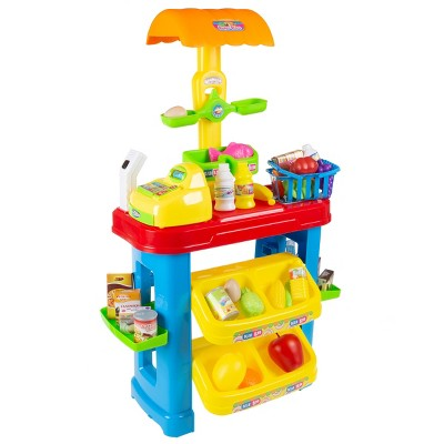 Kids Grocery Store Selling Stand- Supermarket Playset with Toy Cash Register, Scanner, Play Money, Shopping Basket and 28 Pieces of Food by Toy Time