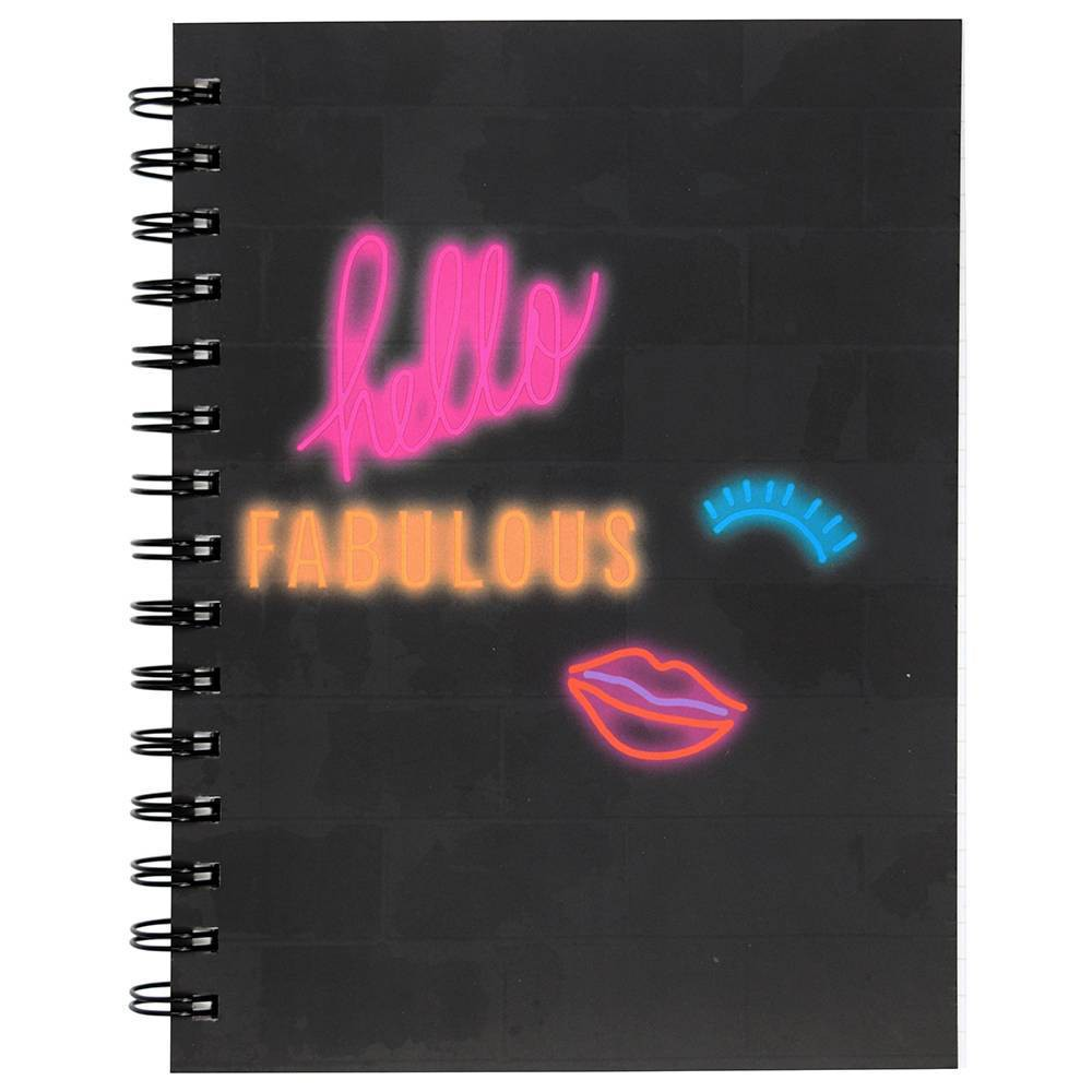 Image of Lined Journal Neon Sign Spiralbound Hello Fabulous - Top Flight