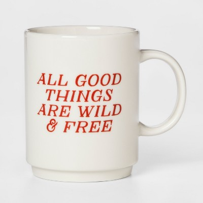 16oz Porcelain All Good Things Are Wild And Free Mug White/Red - Room Essentials™