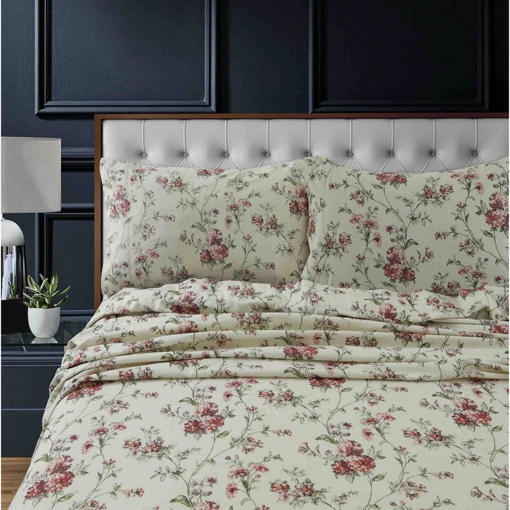 California King Printed Pattern Extra Deep Pocket Heavyweight Flannel Sheet Set Floral Tribeca Living