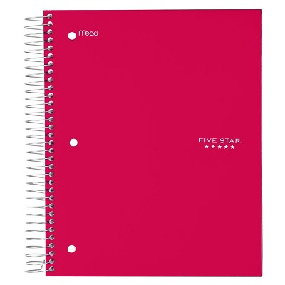 Five Star 5 Subject Wide Ruled Spiral Notebook (Color Will Vary)
