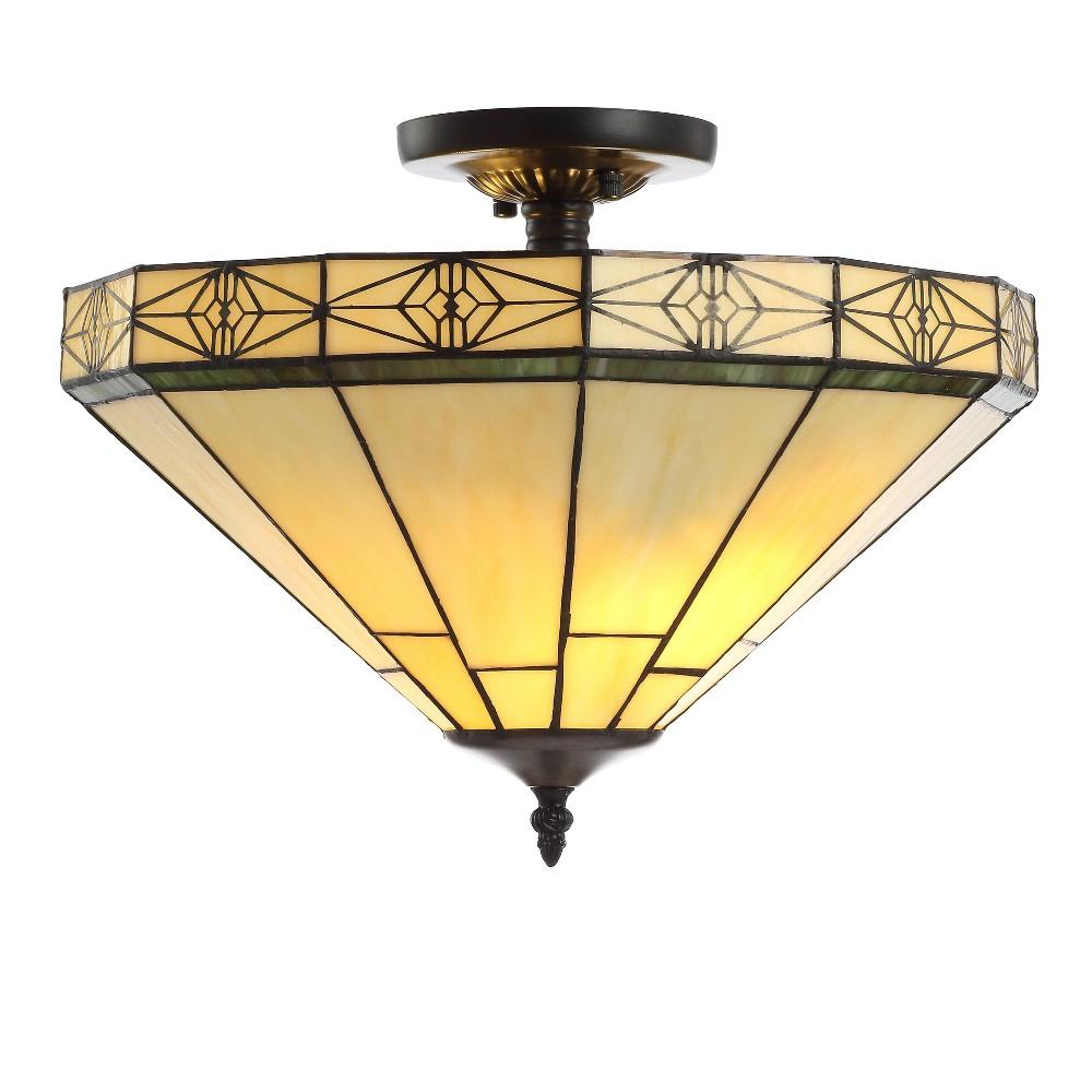 "Image of ""16"""" Jasmine Tiffany-Style Glass/Metal LED Semi-Flush Mount Cream (Includes Energy Efficient Light Bulb) - JONATHAN Y"""