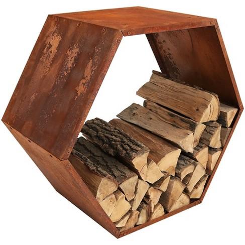Hexagon Rustic Honeycomb Firewood Log Rack 30 Sunnydaze Decor Target