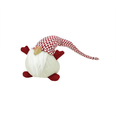 """Northlight 9"""" Red and White Checkered """"Pudgy Percy"""" Sitting Chubby Santa Gnome Table Top Christmas Figure - image 1 of 1"""