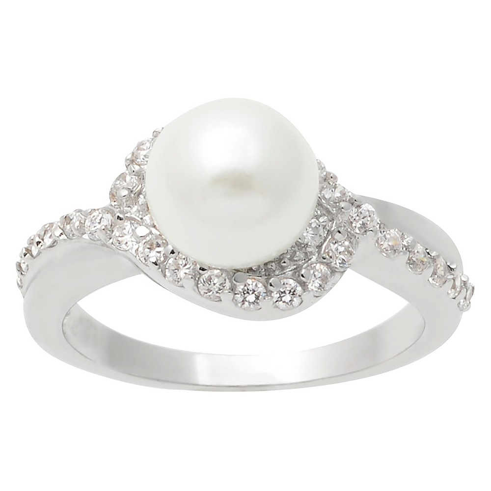 1/2 CT. T.W. Round-cut Cubic Zirconia Simulated Pearl Accent Pave Set Ring in Sterling Silver - Silver, 7, Girl's