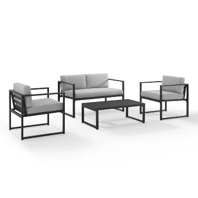 Hamilton Outdoor Metal 4 Piece Conversation Set - Matte Black - Crosley