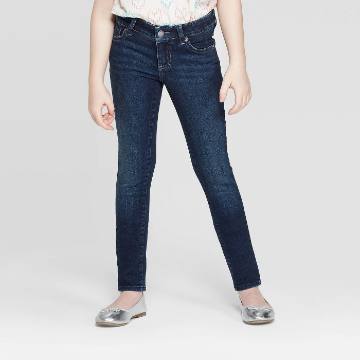 Girls' Ultimate Stretch Skinny Jeans - Cat & Jack™ Dark Wash - image 1 of 3