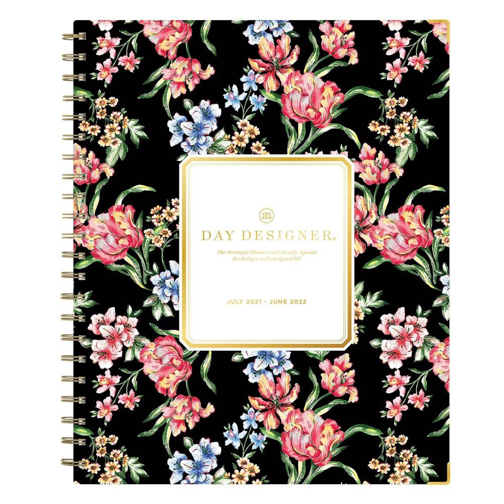 2021 22 Academic Planner 8 5 34 X 11 34 Hard Cover Weekly Monthly Wirebound Tulip Garden Black Day Designer