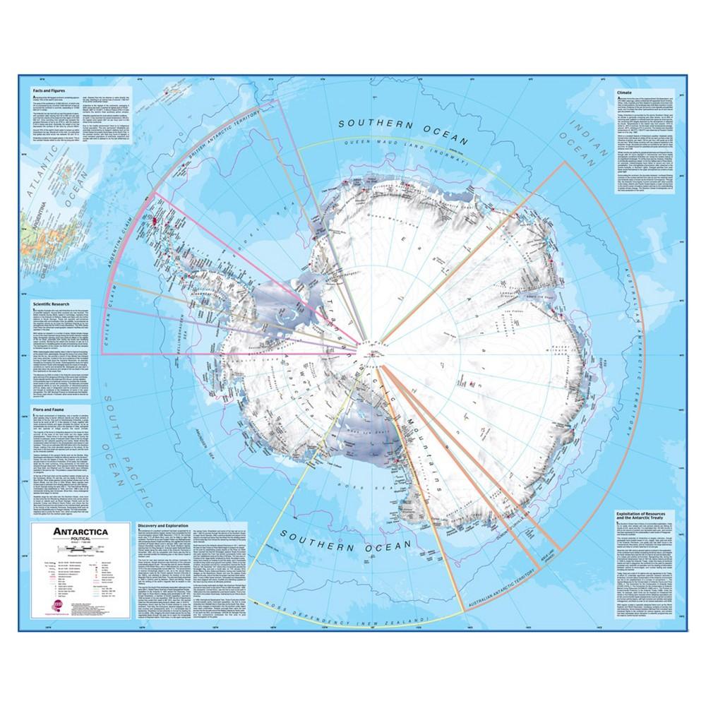 Image of Maps International Antarctica 1:7 Wall Map, Aquarium Blue