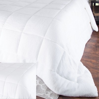 Oversized Reversible Down Alt Comforter With Sherpa (King)White - Yorkshire Home®