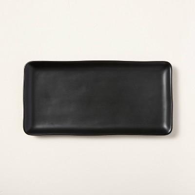 Large Rectangle Matte Stoneware Serve Tray Black - Hearth & Hand™ with Magnolia