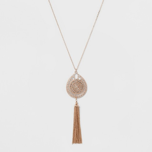 Tassel & Filigree Cut Out Long Necklace - A New Day™ Rose Gold/Clear - image 1 of 3