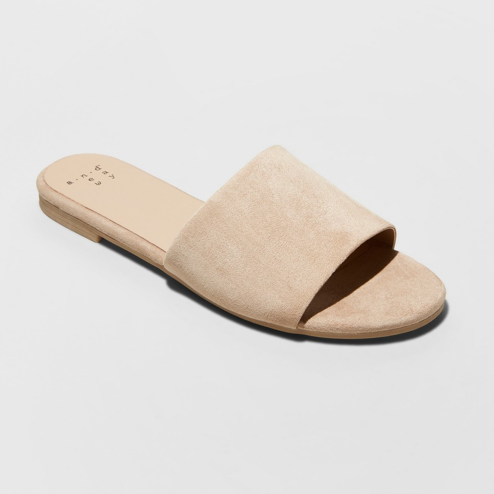 Women's Jozie Faux Suede Slide Sandals - A New Day Tan 11