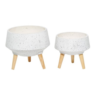Set of 2 Contemporary Wood Bowl Planters - Olivia & May