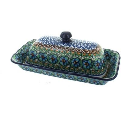 Blue Rose Polish Pottery Mardi Gras Butter Dish