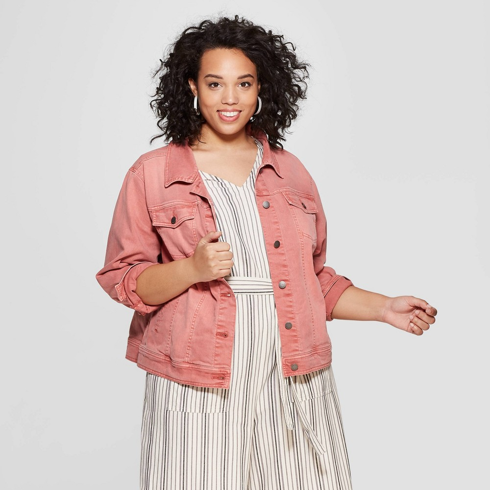 Women's Plus Size Freeborn Denim Jacket - Universal Thread Pink 1X