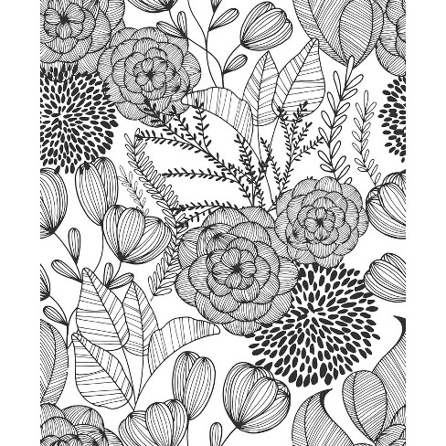 Nuwallpaper Secret Garden Peel And Stick Wallpaper Black Target