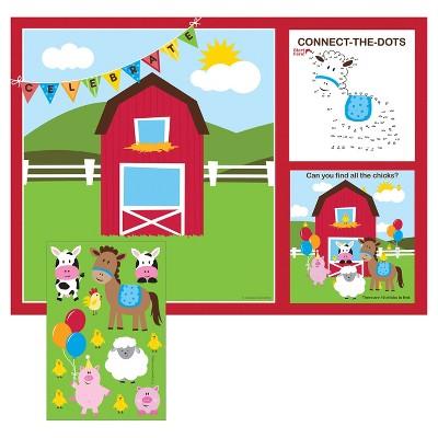 8ct Farm Fun Activity Placemats