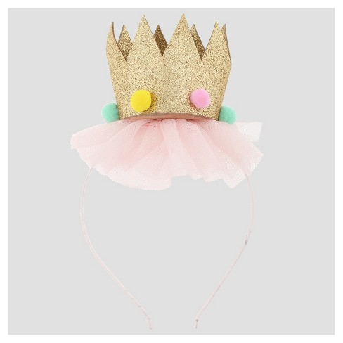 Girls' Glitter Crown Headband Cat & Jack™ Pink - image 1 of 2