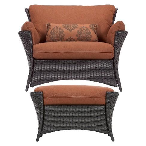Strathmere Allure 2 Piece Wicker Patio Chair Ottoma Target