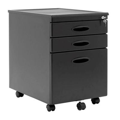 Calico Designs Home Office Furniture Storage 3 Drawer Mobile File Cabinet, Black
