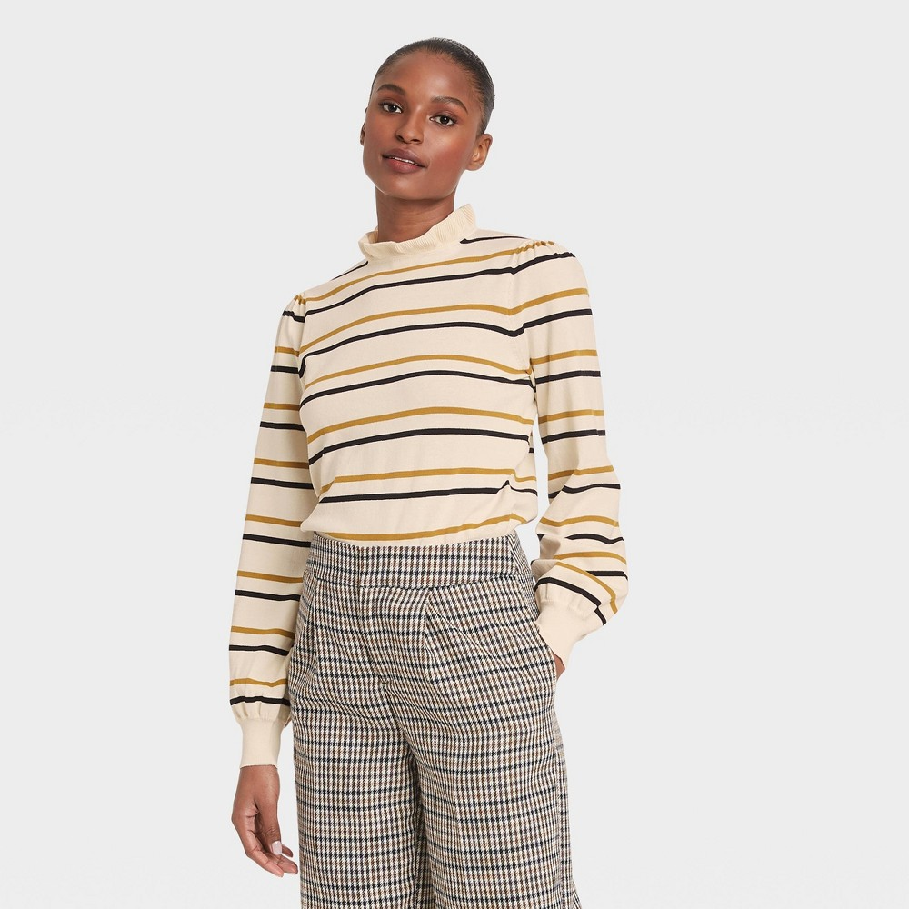Women 39 S Striped High Neck Pullover Sweater Who What Wear 8482 Cream L