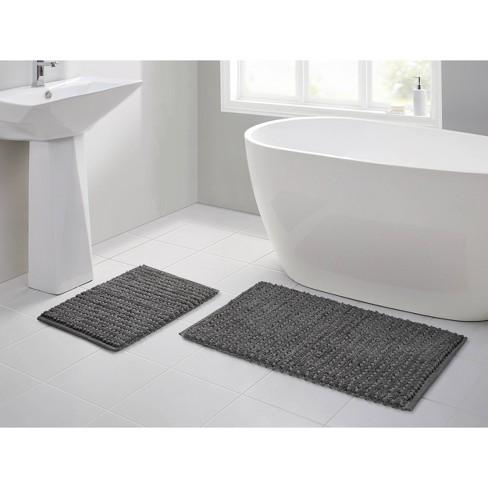 Cotton Bath Rug Set Dark Gray Vcny