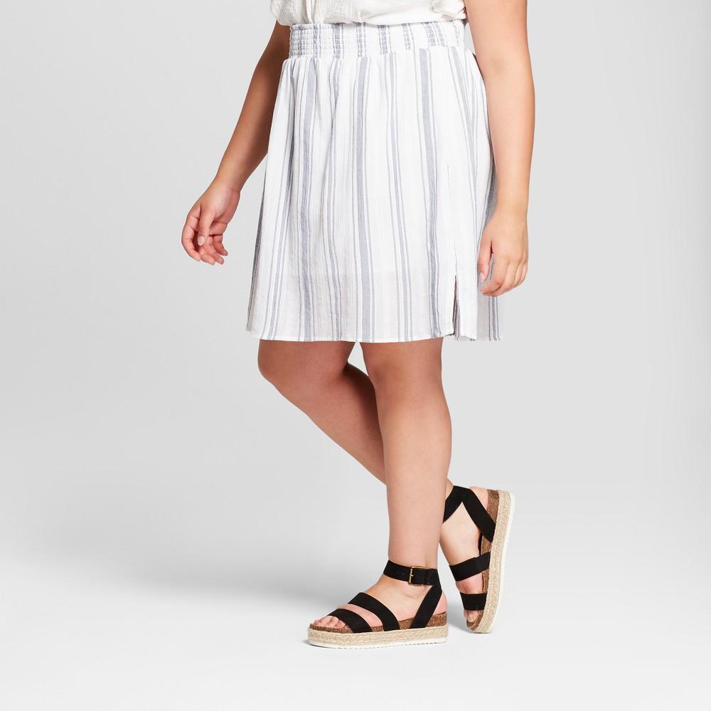 Women's Plus Size Striped Smocked Skirt - Universal Thread Blue 4X