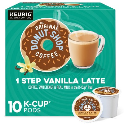 10ct The Original Donut Shop Vanilla Latte Keurig K-Cup Coffee Pods Flavored Coffee Dark Roast
