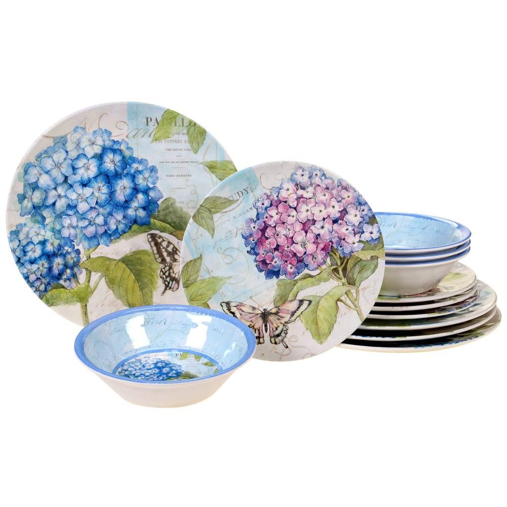 Image of 12pc Melamine Hydrangea Garden Dinnerware Set Blue/Purple - Certified International